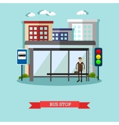 Man waiting for a public transport at bus stop vector