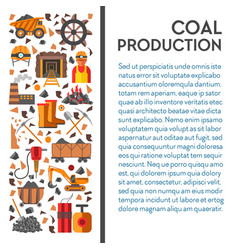 Mine industry coal mining poster machinery and vector