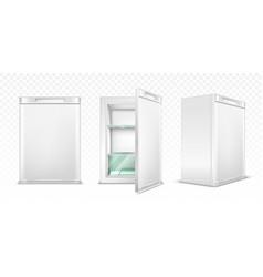 Mini refrigerator empty white kitchen fridge vector
