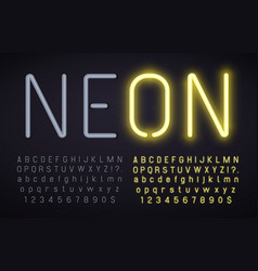 Neon font with light on and off alphabet numbers vector