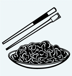 Noodle with chopsticks vector image