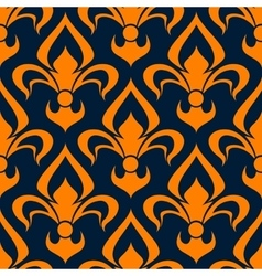 Orange and blue floral seamless pattern vector image