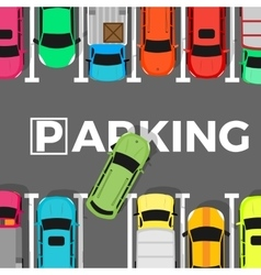 Parking Conceptual Web Banner Car Leaves Place vector