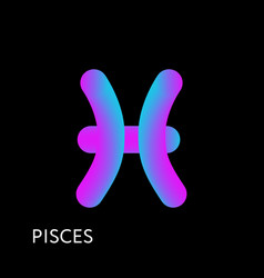 pisces text horoscope zodiac sign 3d shape vector image