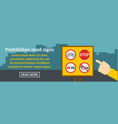 Prohibition road sings banner horizontal concept vector
