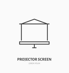 projector screen flat line icon multimedia vector image
