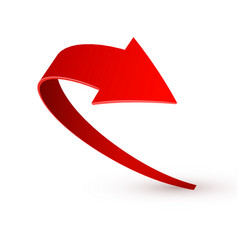 Realistic red swirling arrow vector