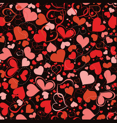 red and pink hearts seamless pattern over dark vector image