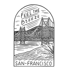 retro summer san francisco surf badge vintage vector image