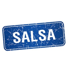 Salsa blue square grunge textured isolated stamp vector