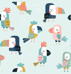 seamless childish pattern with cute parrots vector image