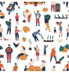 seamless pattern with people gathering crops vector image