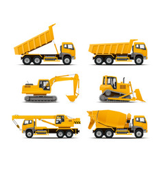 set construction machinery vehicles vector image