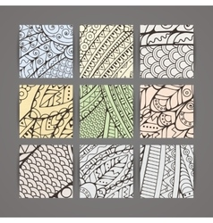 Set four pastel intricate patterns vector