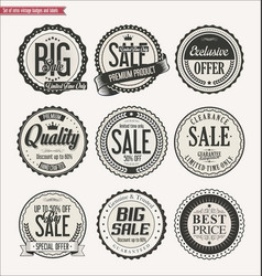 set of retro vintage labels and badges vector image