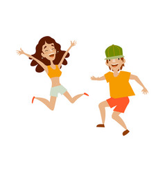 Set of teenagers in casual clothing dances vector