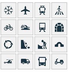Shipment icons set with dangerous bike tunnel vector