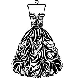 silhouette of isolated floral back dress vector image