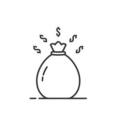 simple thin line black money bag icon vector image