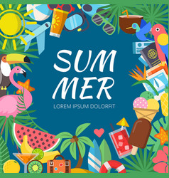 summer background with various travel pictures and vector image
