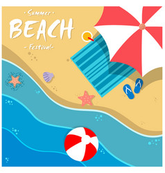 summer beach festival beach umbrella chair backgro vector image
