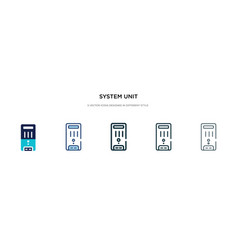 System unit icon in different style two colored vector