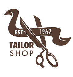 Tailor shop hand drawn sketch logo with scissors vector