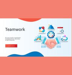 teamwork concept handshake puzzle vector image