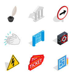 Theatre icons set isometric style vector