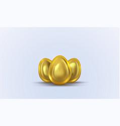 Three golden eggs for easter vector