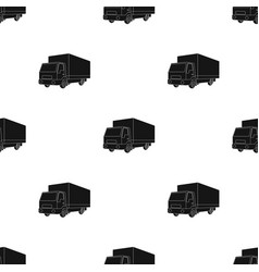 truck with awningcar single icon in black style vector image