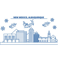 Usa new mexico albuquerque winter city skyline vector
