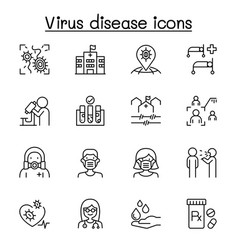 virus disease icon set in thin line style vector image