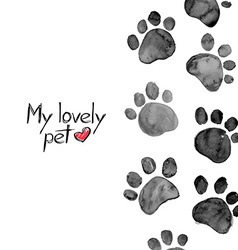 Watercolor with animal footprints vector