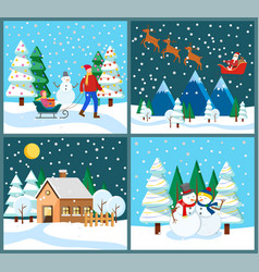 winter holidays santa claus with deers and family vector image