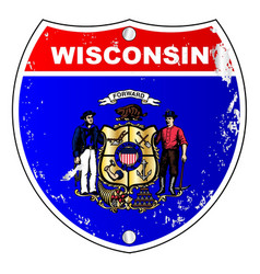 Wisconsin flag icons as interstate sign vector