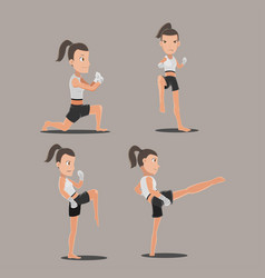 woman thai boxing action set vector image