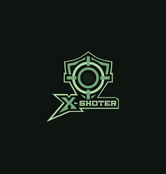 X shoter sniper symbols logo for outdorr hunting vector