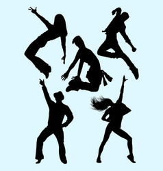 young beautiful dancer silhouette vector image