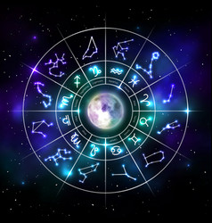 Zodiac circle with astrology symbols in neon style vector