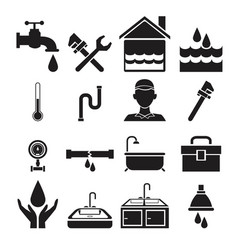 black silhouette plumbing icons set on white vector image