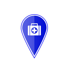 blue map pointer with first aid kit vector image