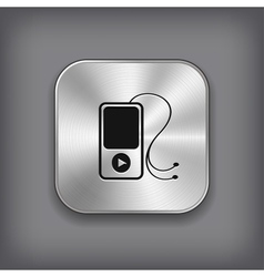 MP3 player icon - metal app button vector image