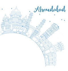 Outline Ahmedabad Skyline with Blue Buildings vector image vector image