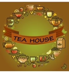Round frame with cup leaf lemon teapot and vector image