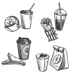 selection of takeaway snacks vector image vector image