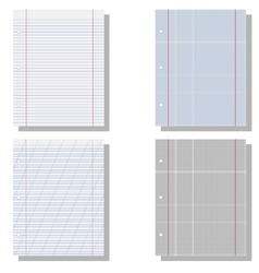 Set realistic exercise book vector image