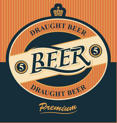 beer label with crown vector image