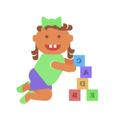 little girl plays with bricks vector image