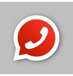 Phone handset in red circle speech bubble icon vector